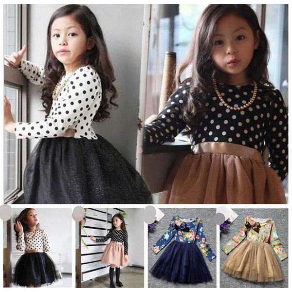 Girls Dresses Autumn Dot Gauze Baby Dresses Girls Bow Princess Dress Toddler Korean Style Pettiskirt Kids Designer Clothes YL711
