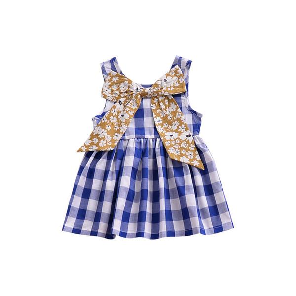 Ropa de Boutique de Niñas pequeñas Ins sin mangas de verano a cuadros azul Niños Niñas Vestidos con Big Bow Moda Ropa de las muchachas del bebé