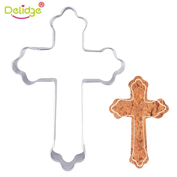 Delidge 1pc Cross Shape Cookie Cutter Stainless Steel Cake Fondant Decoration Mold Halloween Biscuit Making Kitchen Baking Tool