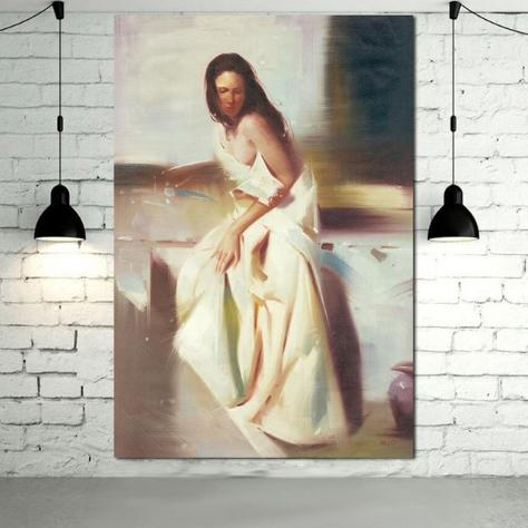 Framed Pure HandPainted Classical Sexy Woman Art oil painting for Home Wall Decor High Quality Canvas size can be customized p08