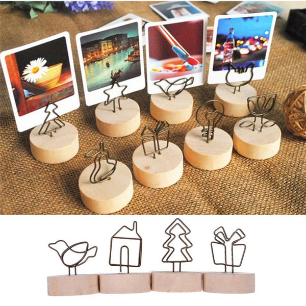 Kreative Runde Holz Eisen Foto Clip Memo Name Karte Anhänger Innenausstattung Bilderrahmen