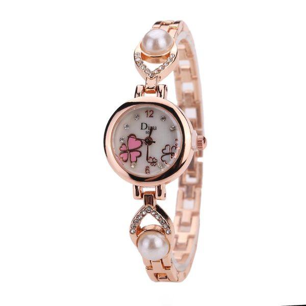 Fashion Ladies Watch Alloy Steel Heart Wristwatch Pearl Inlaid Bracelet Watches Clover Rhinestone Dial Quartz Watch women clock