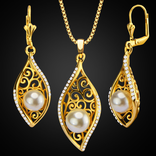 New bride pearl jewelry set 18K gold-plated diamond pearl hollow jewelry necklace earring set