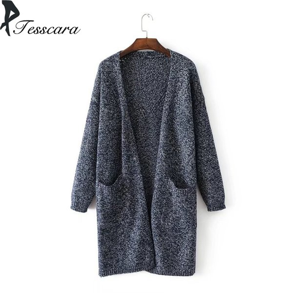 Women Autumn Long Knitted Cardigan Cotton Shrug Knitting Sweater 2018 Fashion Female Pocket Workwear Jumper Casual Oversize Out