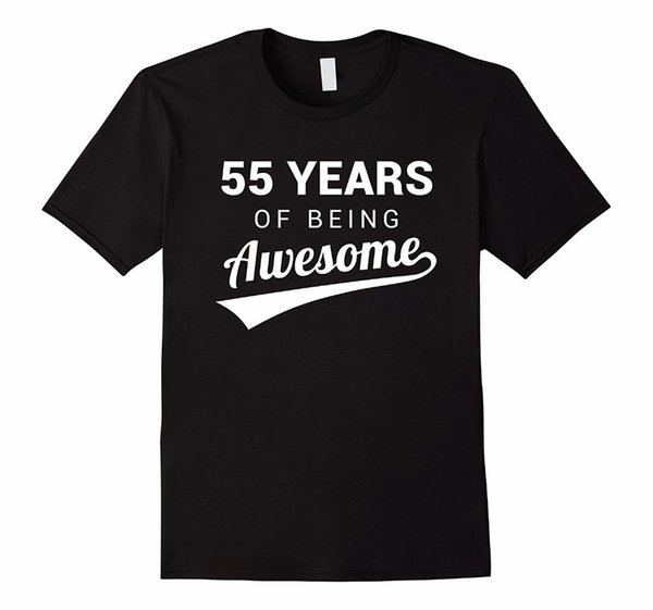 Funky T Shirts O-Neck Men Short Sleeve Office 55th Birthday Gift Shirt Funny Awesome 55 Year Old Bday Idea Tee