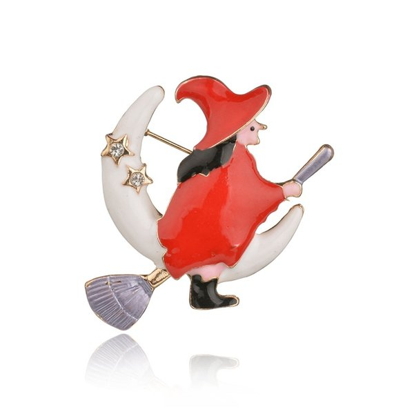 Fashion Witch Brooch Pin For Halloween Party Cheap Red Oil Drop Enmeal Christmas Brooches Clip For Scarf Buckle Best Gift