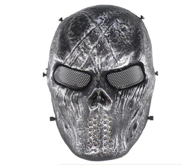 Máscara de fiesta de Airsoft del cráneo máscara facial completa Juegos del ejército Malla máscara del escudo del ojo para Halloween Cosplay Decoración del partido