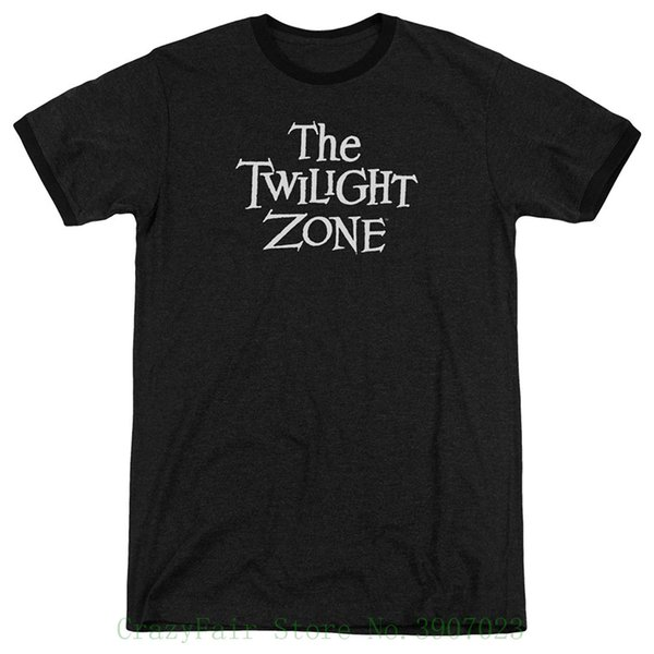 Twilight Zone Tv Series Cbs Logotipo Adulto Ringer Camiseta Tee Adolescente Algodón natural impreso