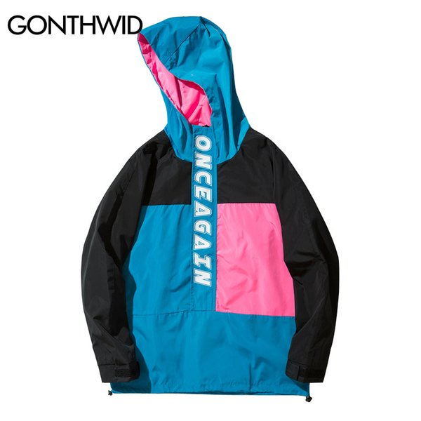 GONTHWID Color Block Patchwork Pullover Jackets Men Casual Stand Collar Zip Up Track Jacket 2017 Autumn Male Hip Hop Streetwear