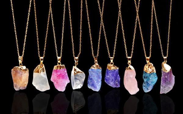 Multicolor Cristal Natural Colgante Irregular Solo Anillo Collar Suéter Cadena Hombres Mujeres Accesorios de Joyería Soporte FBA Envío de La Gota M76F