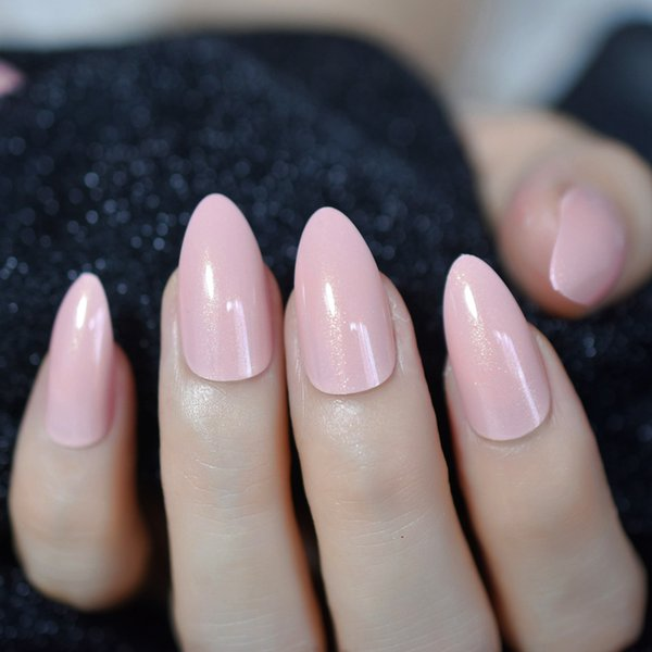 Nude Pink Pointed Stiletto Sharp False Nail Art Tips Shimmer Gold ...
