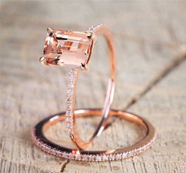 Mode 18 Karat Überzogene Rose Gold Ringe Set Prinzessin Morganite New Year Anniversary Proposal Geschenk Diamant Schmuck Hochzeit Band Ring