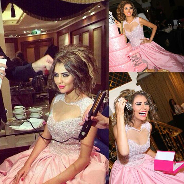 Prom Dresses Sparking Beading Puffy Skirt Keyhole Homecoming Dress Taffeta Pink Floor-Length Evening Gowns