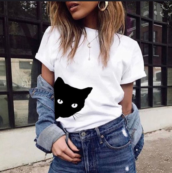 2018 European and American cat pattern printed necktie short sleeved T-shirt