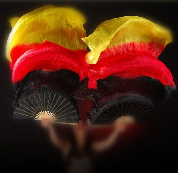 Real Silk 210cm 220cm 230cm Extra Long Belly Dance Silk Veils Flame Bamboo Folding Fan Dancer Performance Props Free Shipping