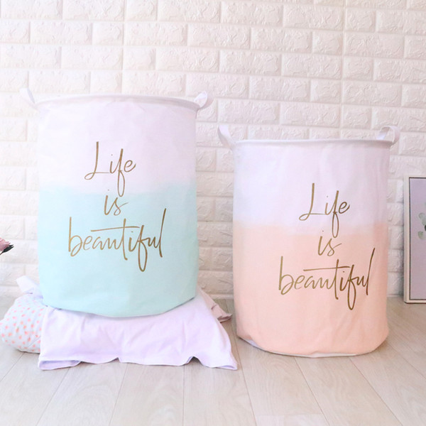 3pcs/lot Nordic Style Cotton Linen Fabric Laundry Basket Dirty Cloth Storage Barrel Folding Household Sundries Organizer Pouch 40*50cm