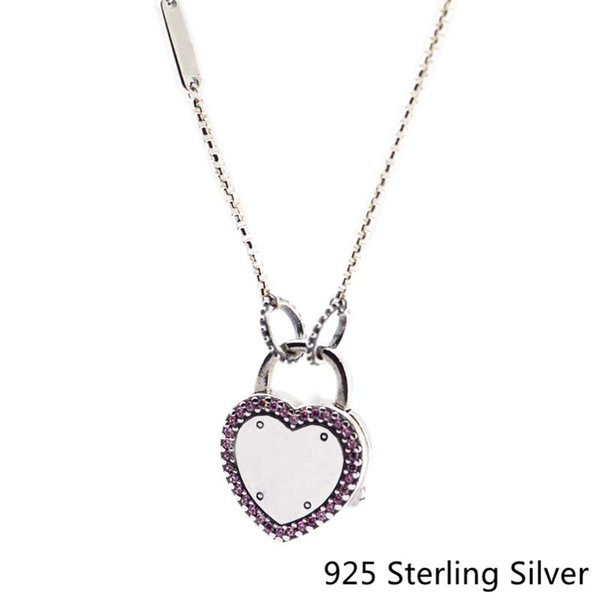 CKK 925 Sterling Silver Lock Your Promise Necklace Pendants , Fancy Fuchsia Pink Original Jewelry Making