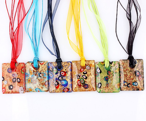 QianBei Wholesale 6pcs/lot Multicolor The golden square Glass Pendant necklaces Jewelry Accessory handmade Craft Jewelry