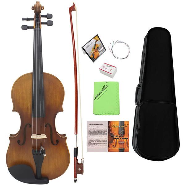 top popular 4 4 Full Size Violin Fiddle Matte Finish Spruce Face Board Ebony Fretboard 4-String Instrument with Hard Case Bow 2021