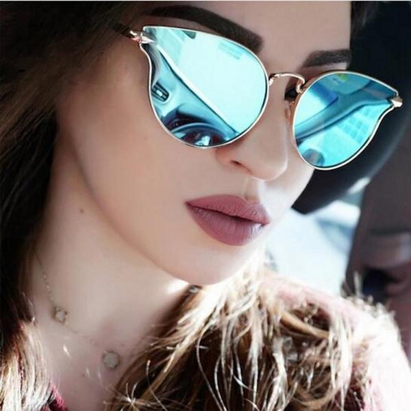 aa7d7377f Trending Rihanna Metal Frame Cat Eye Fashion Mirror Sunglasses Women  Original Brand UV400 Shades Luxury High