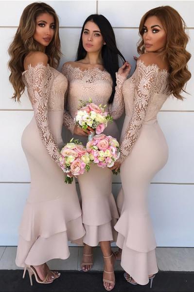 Elegant Lace Mermaid Bridesmaid Dresses Off The Shoulder Long Sleeves Satin Tea Length Cream Bridesmaid Gowns Zipper Up