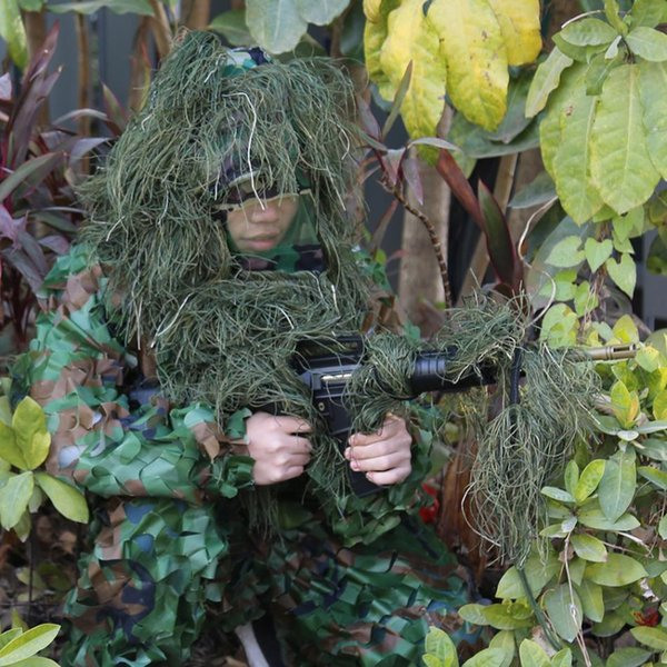 Hunting Grass Type Sniper Camouflage Hood Cap Hat Cover with Rifle Rope for Ghillie Suit Sniper Grass Jungle Hunting