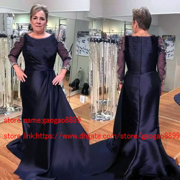 Unique Designer Navy Blue Mother Of The Bride Dresses Long Sleeve Modest  Jewel Neck Gold Lace Plus Size Formal Evening Gowns Groom Mother Mother Of  ...