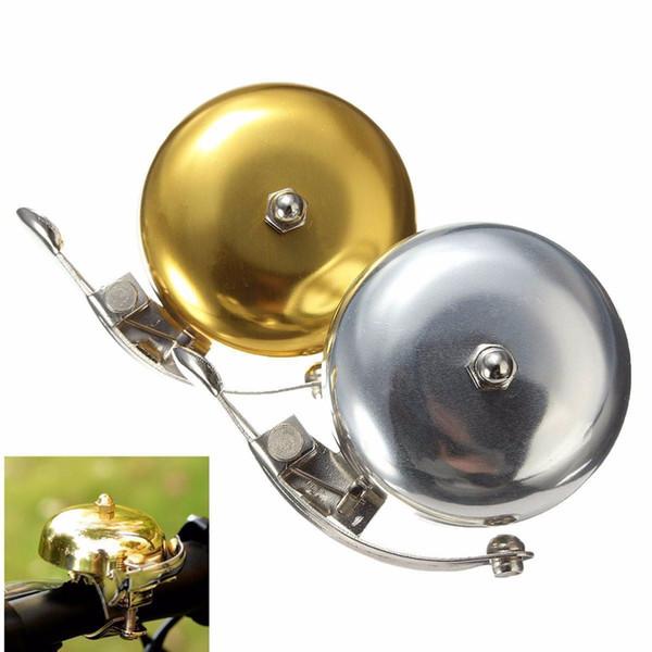 Mango de la astilla de oro Campana de la bicicleta Ciclo retro Push Bike Anillo de metal Bell Sonido fuerte One Touch Ciclismo Alarma de cuerno de la bicicleta