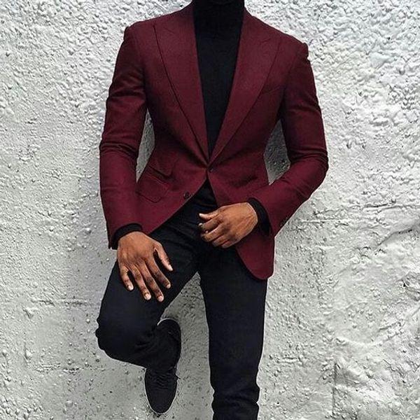 Новая мода бордовый жених смокинги две кнопки Slim Fit Groomsmen мужчины бизнес формальный костюм партии выпускного вечера костюм (куртка + брюки + галстук) NO: 118