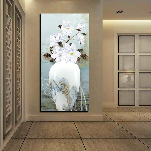 Free Shipping Chinese Vase Printed White Flower Oil Painting Home Wall Art Pictures HD Posters and Prints Modern Abstract Canvas