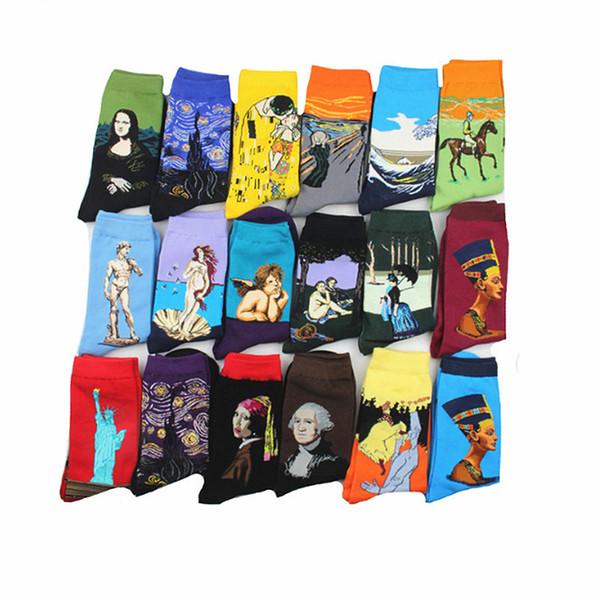 Novelty Famous Oil Painting Art Socks Women's Men's Street Graffiti Van Gogh Long Sock Winter Autumn Cotton socks for men