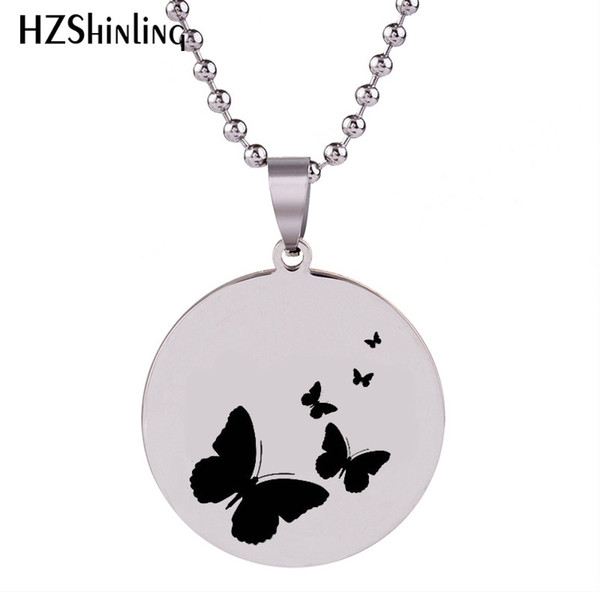 SS-0023 2018 New Butterfly Stainless Steel Pendant Silver Hand Craft Necklace Art Round Pendants Ball Chain Gifts For Men