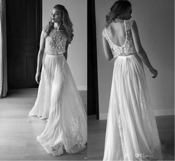 2018 Mermaid Wedding Dresses Two Piece Sleeveless Low Backless Pearls Beading Sequins Bridal Gowns Lace Boho Bohemian Custom Wedding Dress