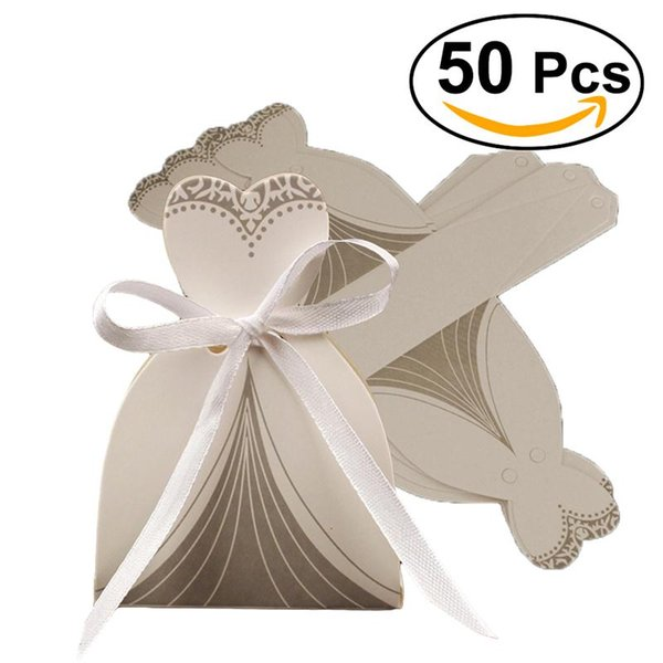 50pcs Groom Tuxedo Bridal Dress Candy Boxes Gift Candy Boxes Wedding Party Favor With Ribbon Sweets Packaging Favours Wedding