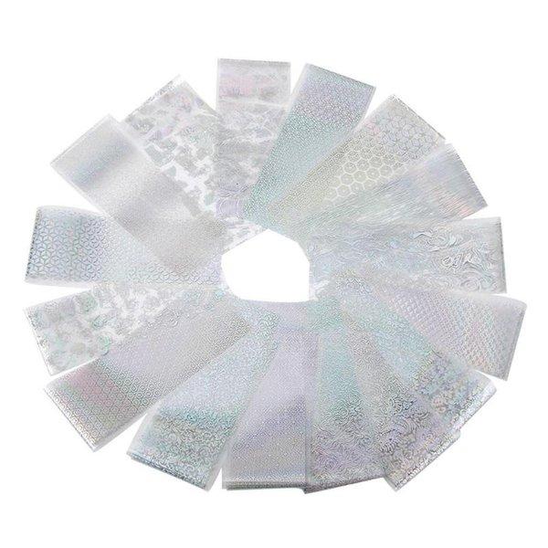 16pcs / set UV Gel Laser Manucure Nail Stiickers Argent Ciel Étoilé Papier DIY Impression de Transfert de L'eau Impression Paster Beauté Nail Outils