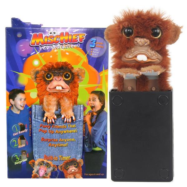 Vendita calda Tricky Toy Monkey Jitters Pelliccia di peluche Plastica Brown Pet Sneekums Prankster Pratico Joke Monster Kuso Toys 15 9gf YY