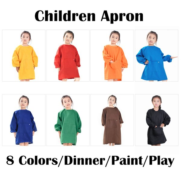 8 Colors Children Aprons For Kids Painting Eating Playing Camping Clothes Waterproof Aprons Baby Feeding NNA486 60pcs