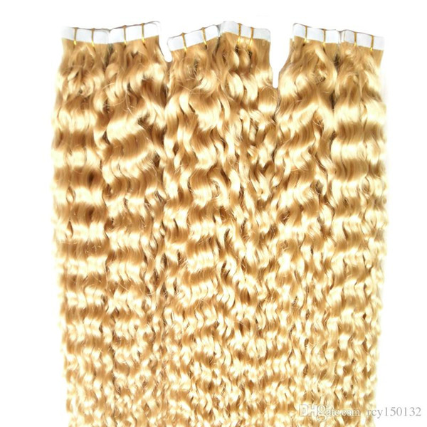 Tape In Human Hair Extension Blonde 60# Deep Curl 30 Inches Skin Weft Hair Salon Style 40pcs/pac
