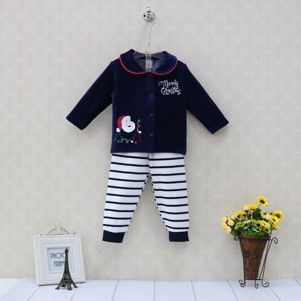 Little Q Velour Baby Christmas Sets Toddler Long Sleeve Blouse+ Long Boys Striped Elastic Waist Pants Outfits Girls Clothes