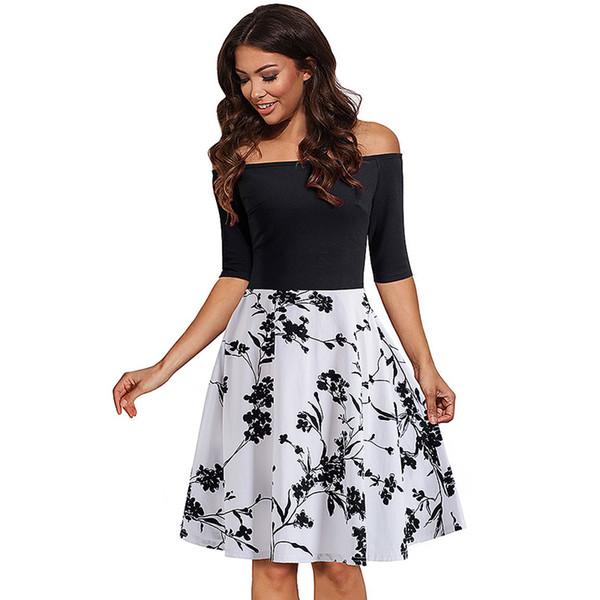 Western Style Женская одежда 2018 Новые платья с высокой талией и цветочным принтом Slash Шея Тонкий три четверти рукав платье Line Черный принт