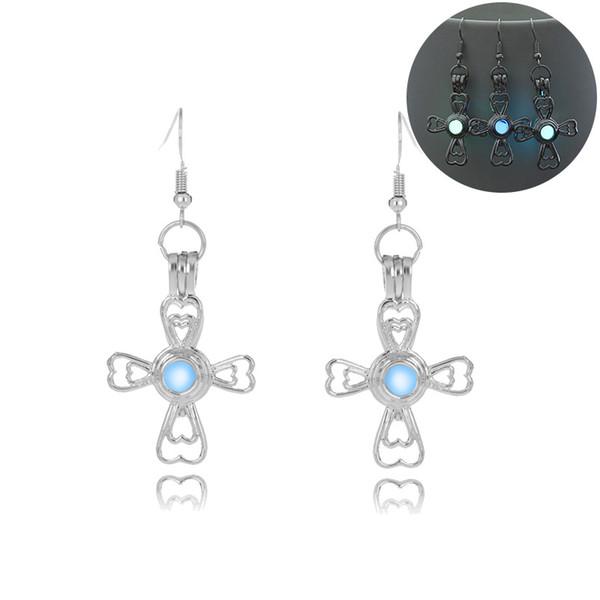 Hainon Cross Heart Luminous Dangle Earring Jewelry For Women Glow In The Dark Party Engagement Silver Color Earring
