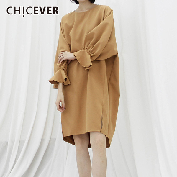 CHICEVER Ruffles Women's Dress Female O Neck Butterfly Sleeve Hem Split Dresses Korean Fashion Vintage Clothing New 2018