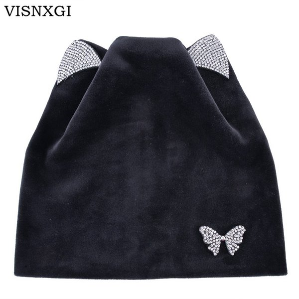 VISNXGI Women Winter Knitted Cap Casual Beanies Hat High Bun Ponytail Butterfly Floral Cat Ears Skullies Beanie Turban Warm Hat