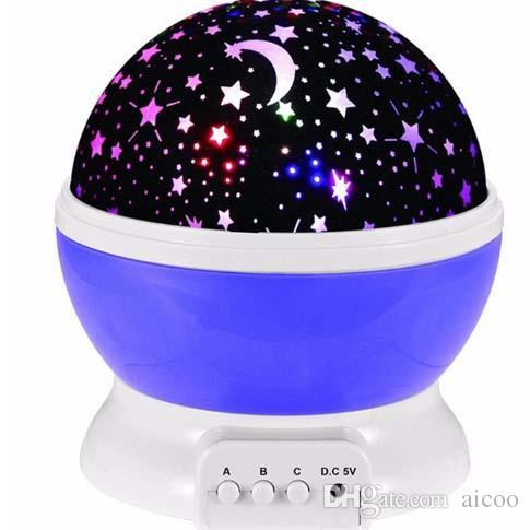 Newest Romantic Room Novelty Night Light Projector Lamp Rotary Flashing Starry Star Moon Sky Star Projector For Children Baby Retail Package