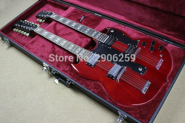 OEM Factory Custom Shop SG electric guitar double neck 1275 EDS wine red sg guitar real guitar pictures with hardcase high quality