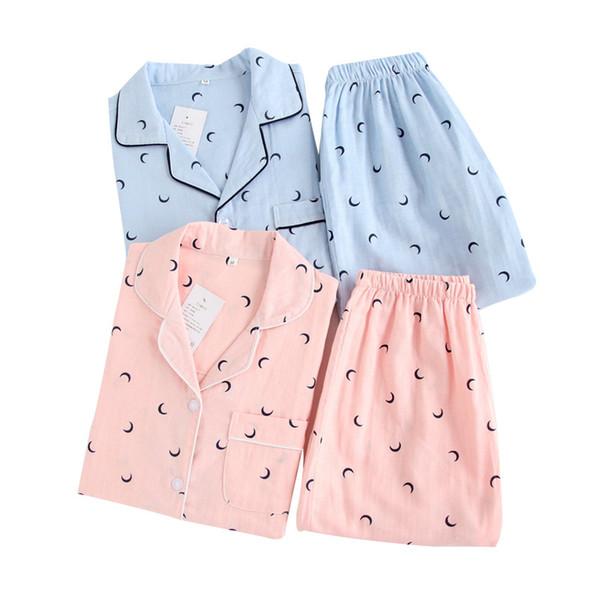 Coppia pigiama set garza pigiama di cotone moon pigiama donna pigiama maman manica corta autunno primavera 2 pezzi pigiameria pigiameria