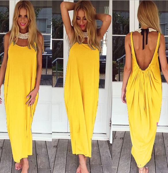 yellow backness maxi dress