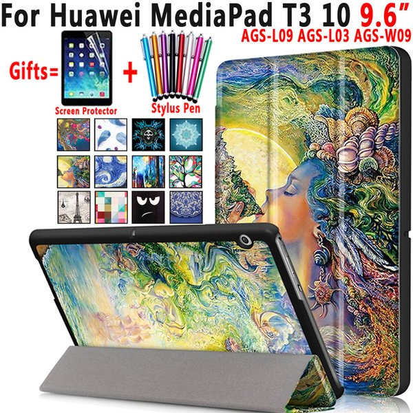 Famous Paintings Magnetic Leather Smart Auto Sleep Awake Shell Cover Case for Huawei Mediapad T3 10 9.6 inch Coque Capa Funda