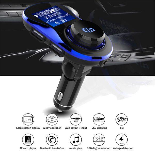 Caricabatterie Dual USB da auto con adattatore per radio FM MP3 con trasmettitore FM da auto con scatola al minuto