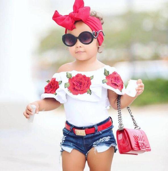 Venda imperdível! 2018 verão bebê crianças meninas roupas 3d flor impressão sem mangas plissado em torno do pescoço pullover t-shirt denim buraco calças 2 pc algodão set